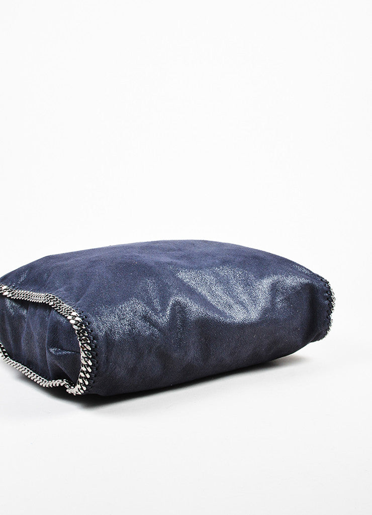 Stella McCartney Navy Blue Faux Deer Silver Toned Metal Chain Handle Shoulder Bag Bottom View