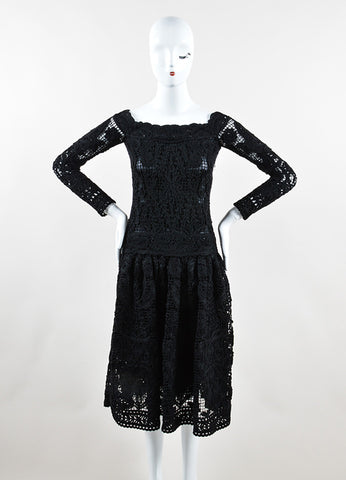 Salvatore Ferragamo Black Wool Crochet Macrame Long Sleeve Dress Frontview