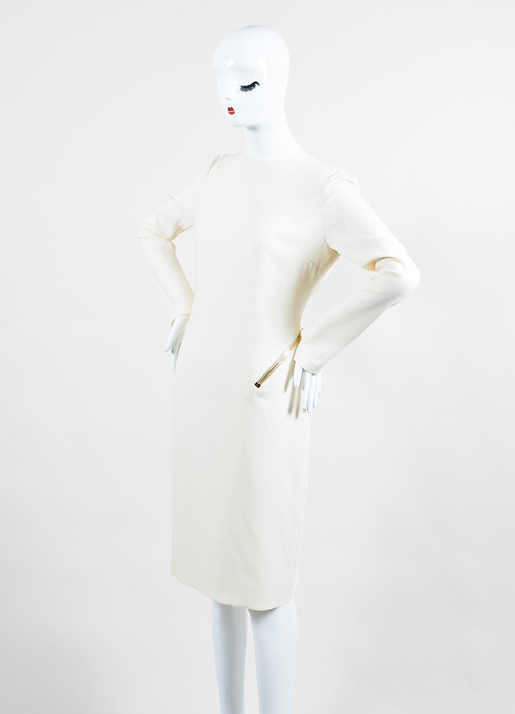 Cream Tom Ford Silk Zippered Backless Long Sleeve Cocktail Dress Sideview