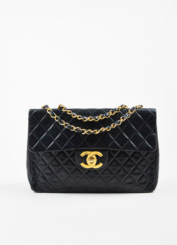 Chanel Black Quilted Lambskin Leather Gold Toned Chain Flap Shoulder Bag Frontview
