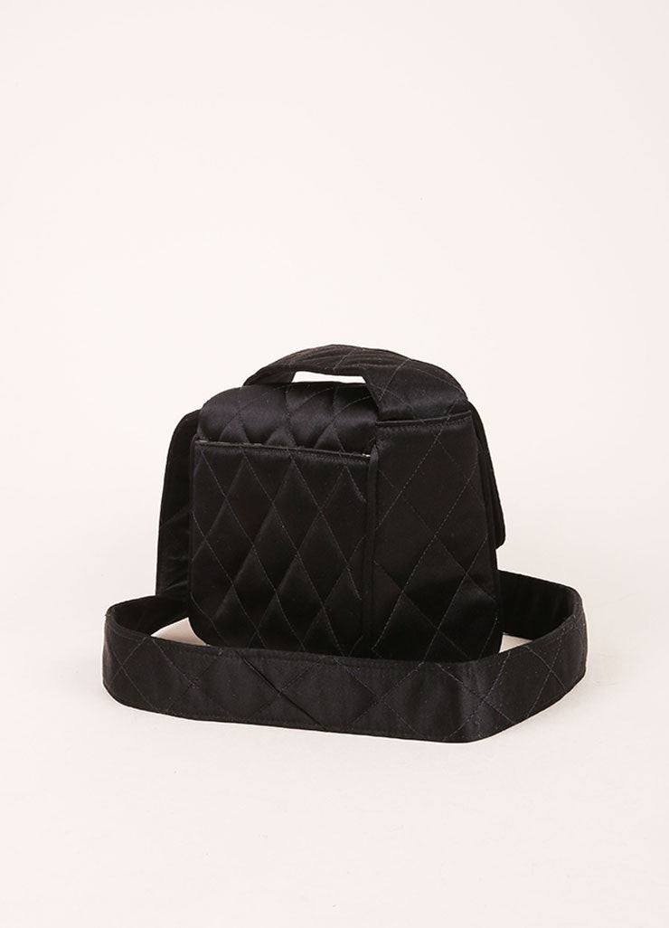 Chanel Black Satin Quilted Flap Mini Shoulder Bag Backview