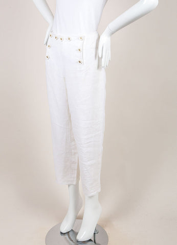 "Chanel White Linen ""CC"" Buttoned Cropped Sailor Pants Sideview"