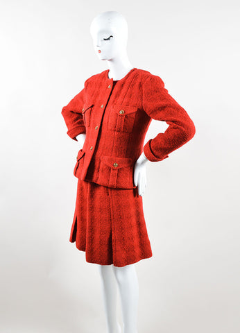 Chanel Red Wool Tweed 'CC' Buttons Belted Skirt Suit Sideview