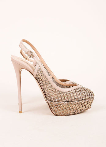 Valentino Nude and Silvery Gold Cage Mesh and Leather Slingback Pumps Sideview