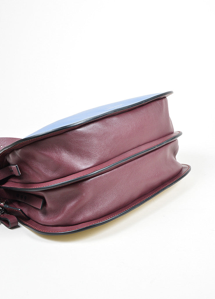 Burgundy, Blue, and Cream Valentino Leather Saddle Shoulder Bag Bottom View