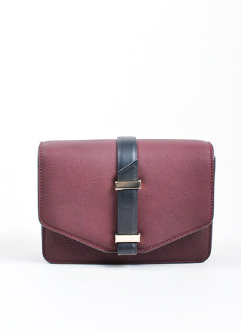 Maroon and Black Victoria Beckham Leather Mini Satchel Bag Frontview