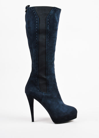 "Yves Saint Laurent Navy Blue Suede Platform ""Gaby 90"" Knee Boots Sideview"