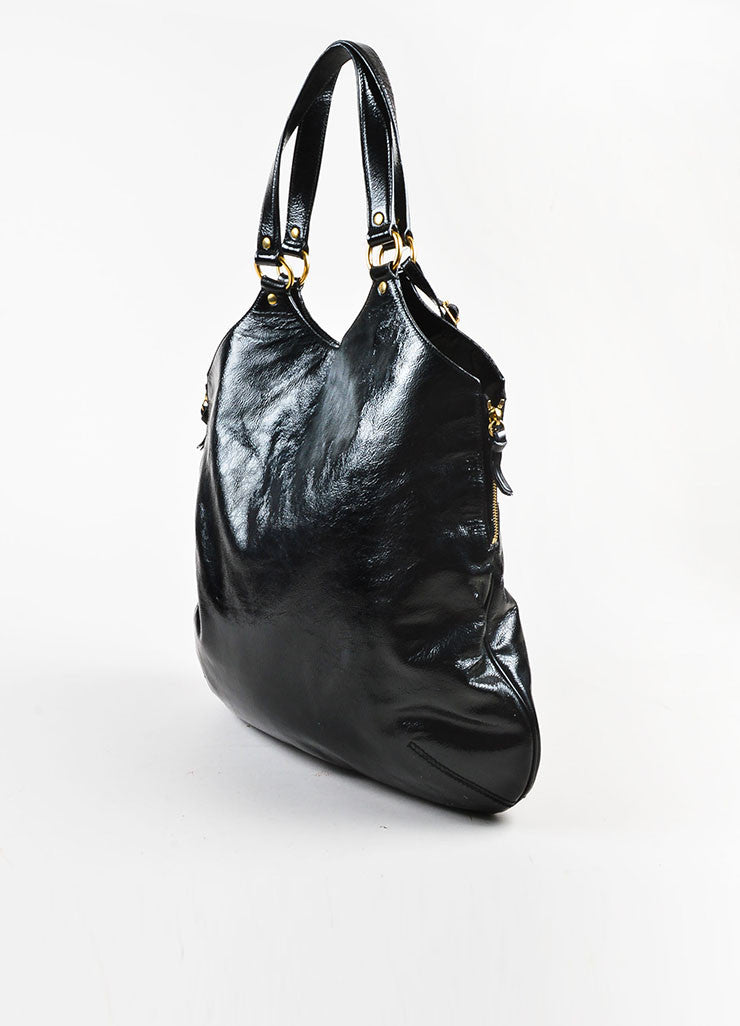 "Yves Saint Laurent Black Patent Leather ""Tribute"" Tote Bag Sideview"