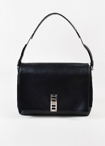"Proenza Schouler Black Suede Leather Silver Toned ""Elliot"" Shoulder Bag Frontview"