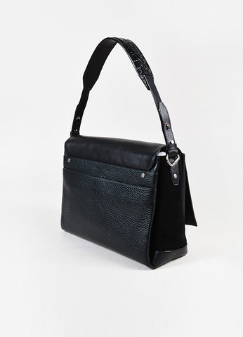 "Proenza Schouler Black Suede Leather Silver Toned ""Elliot"" Shoulder Bag"