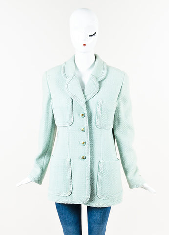 Chanel Boutique Mint Green Tweed 'CC' Button Front Jacket Front