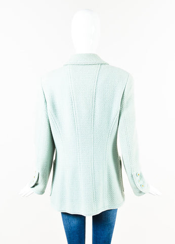 Chanel Boutique Mint Green Tweed 'CC' Button Front Jacket Back