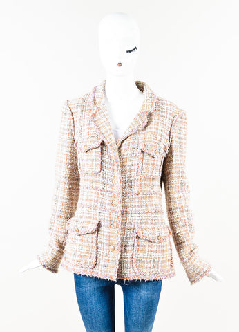 Chanel Beige Purple Multicolor Tweed Multi Pocket Jacket Front