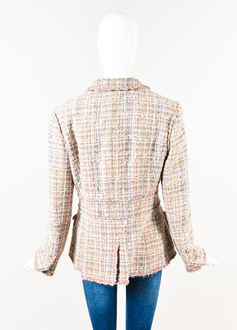 Chanel Beige Purple Multicolor Tweed Multi Pocket Jacket Back