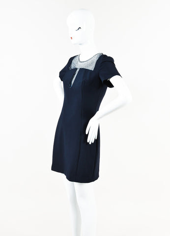 Versace Collection Navy Blue Short Sleeve Crystal Inset Dress Side