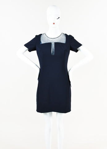 Versace Collection Navy Blue Short Sleeve Crystal Inset Dress Front