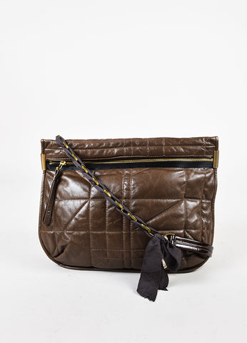 "Lanvin Taupe Leather Brown Patent Strap Quilted ""Amalia"" Crossbody Bag Frontview"