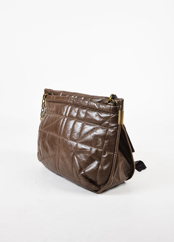"Lanvin Taupe Leather Brown Patent Strap Quilted ""Amalia"" Crossbody Bag Sideview"
