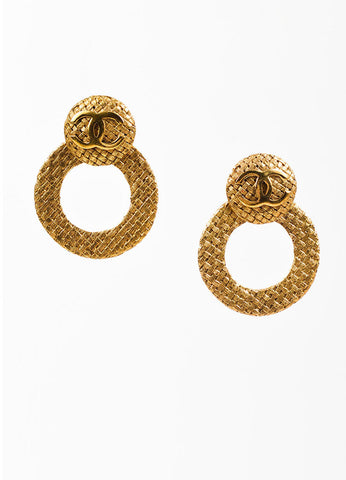 "Chanel Gold Toned Woven Convertible Hoop ""Day to Night"" Earrings frontview"
