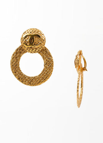 "Chanel Gold Toned Woven Convertible Hoop ""Day to Night"" Earrings Sideview"