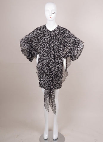 Black and Grey Silk Printed Long Sleeve Drape Dress