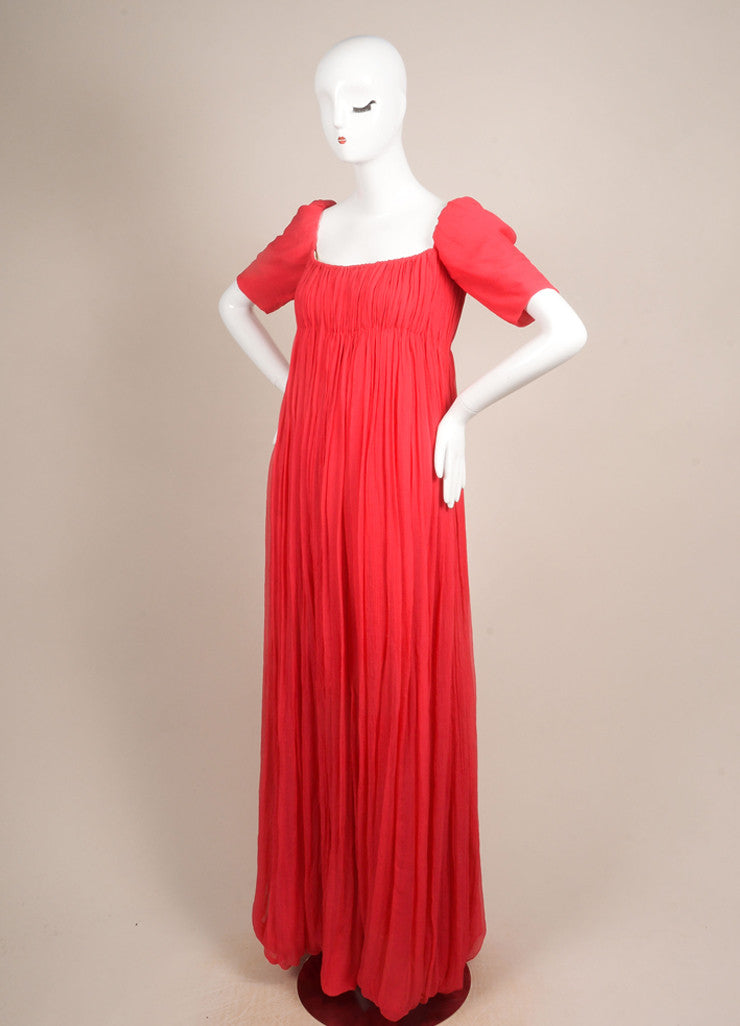 Alexander McQueen New With Tags Red Silk Short Sleeve Ruched Pleated Gown Sideview