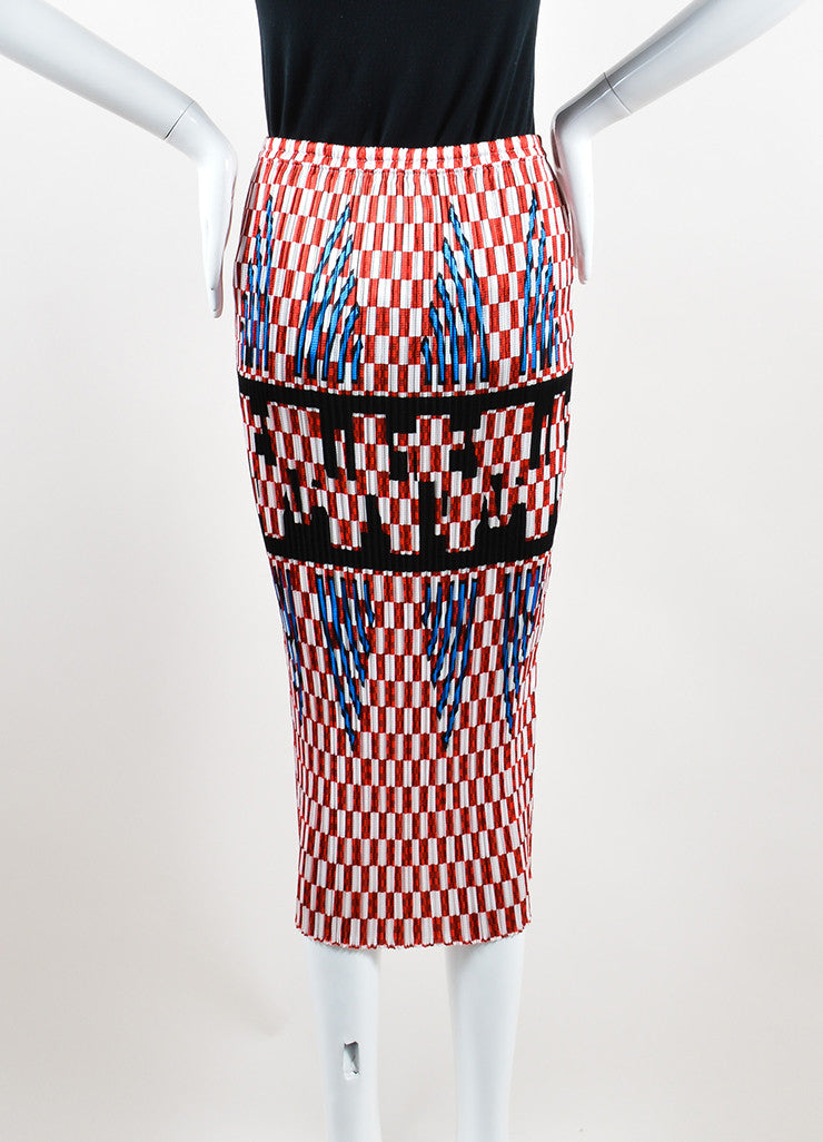 Alexander Wang Red and White Smocked Pleated Checkered Midi Skirt Backview