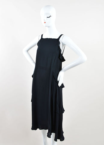 Chanel Black Silk Ruffle Trim Sleeveless Belted Midi Dress Sideview