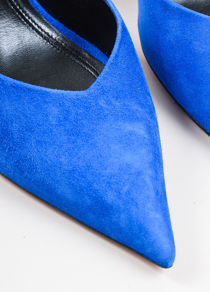Blue Celine Suede D'Orsay Pointed Toe Pumps Detail