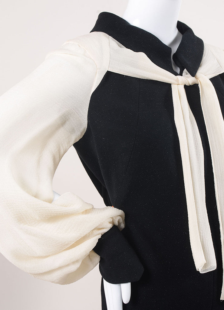 Chanel Black and Cream Cotton and Silk Tie Front Shift Dress Detail