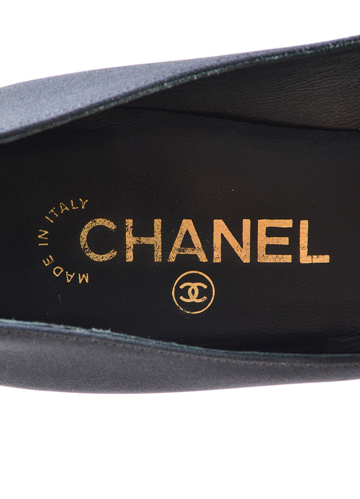 "Chanel Black and Gold Satin ""CC"" Mirrored Platform Pumps Brand"