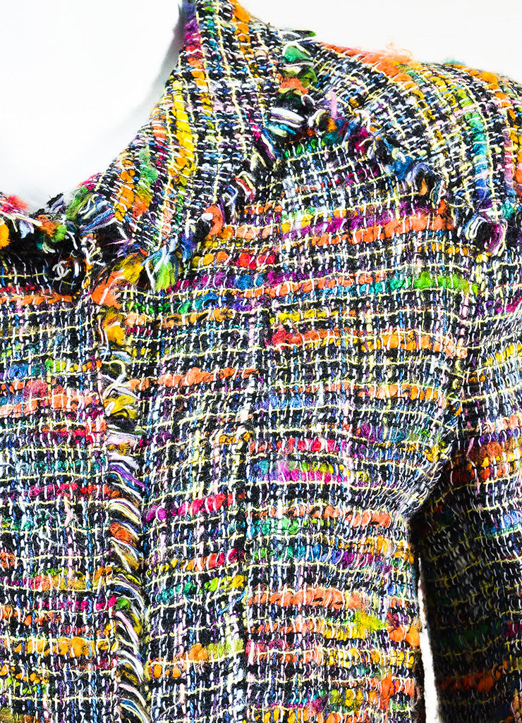 Chanel Black and Multicolor Tweed Single Button Jacket Detail