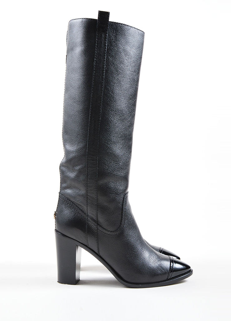 Chanel Black Pebbled Leather Cap Toe Stacked Heel  Knee High Boots Sideview