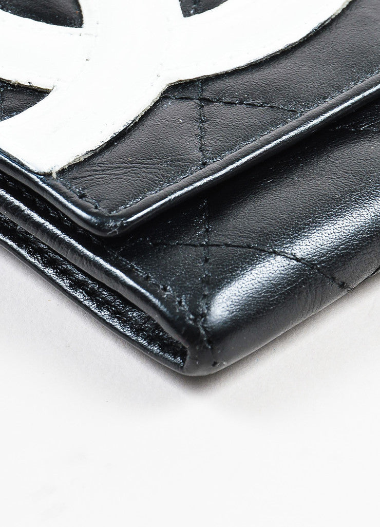 "Chanel Black and White Quilted Leather 'CC' Logo ""Ligne Cambon"" Wallet Detail"
