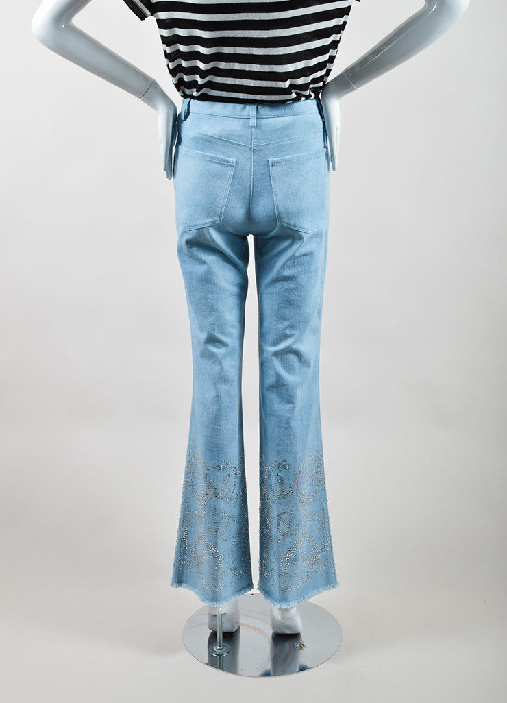 "Chanel Blue Cotton Wide Leg ""CC"" Rhinestone Embellished Frayed Hem Jeans Backview"