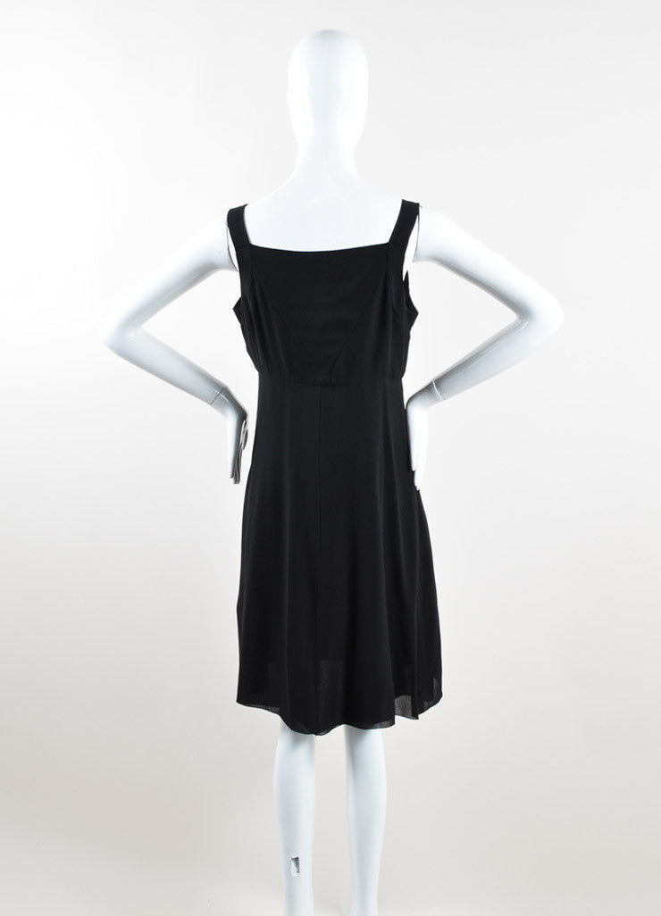 Chanel Black Silk Georgette Sleeveless Button Up Slip Dress Backview