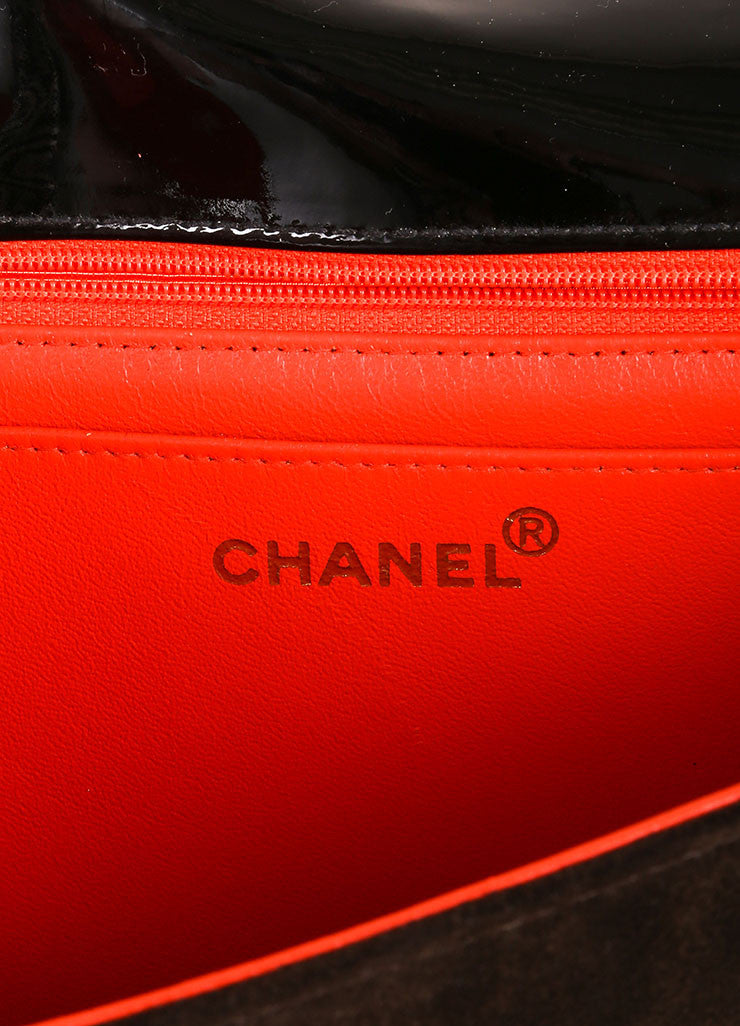 Chanel Brown and Black Suede Leather Patent Trim Shoulder Handbag Brand