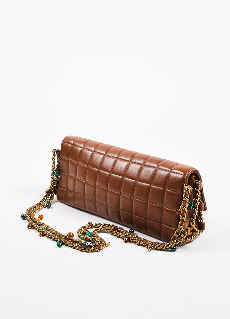 "Chanel Brown Quilted Leather ""East West Chocolate Bar"" Beaded Chain Strap Bag Sideview"