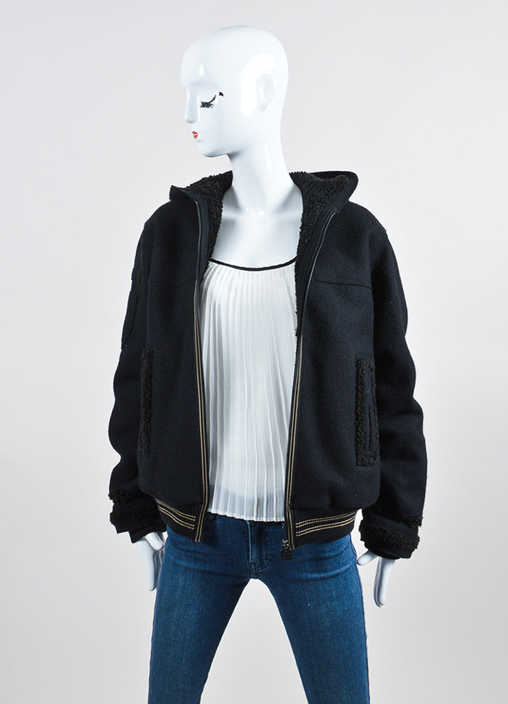 Black Chanel Wool and Faux Shearling Hooded Varsity Jacket Frontview