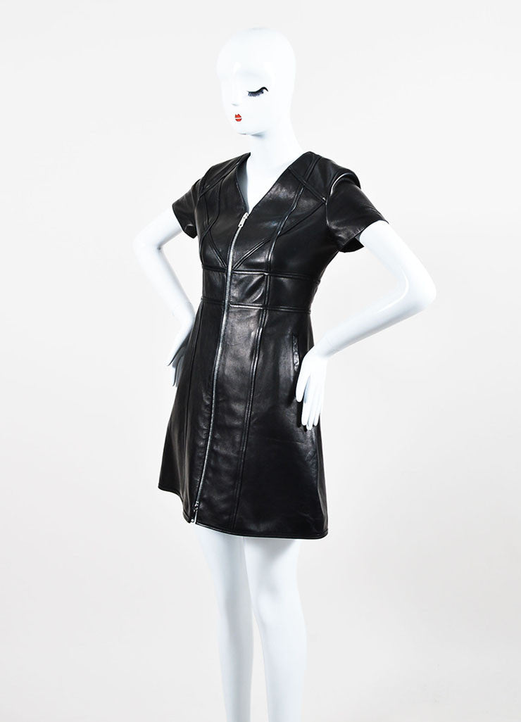 Christian Dior Black Leather Paneled Zip Up Short Sleeve Dress Sideview