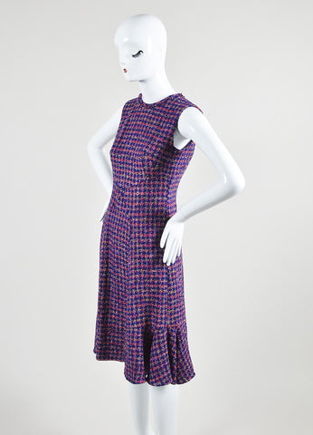"Multicolor Erdem Tweed Houndstooth Sleeveless ""Jana"" Fluted Dress Front"