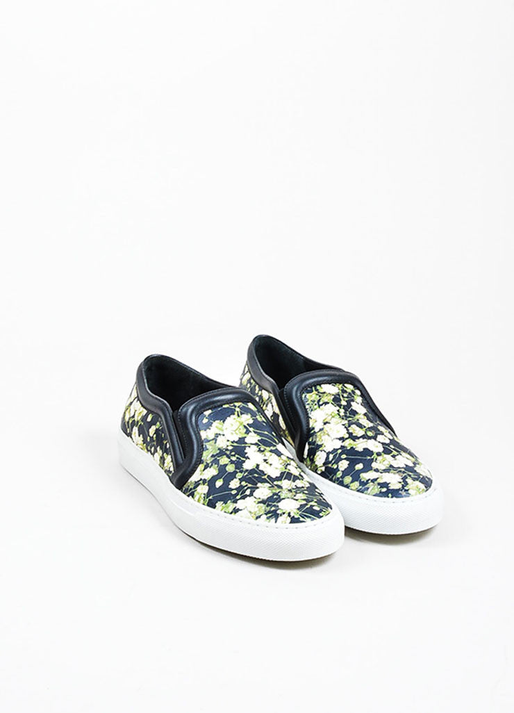 Black Givenchy Leather Baby's Breath Print Slip On Skate Sneakers Frontview