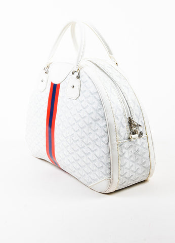 "Goyard Blue, Red, and White Coated Canvas and Leather GM ""St. Jeanne"" Bag Sideview"