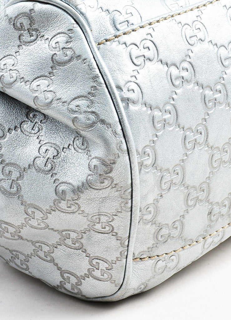 "Gucci Metallic Silver Guccissima Leather Crossbody ""Sukey Boston"" Bag Detail"