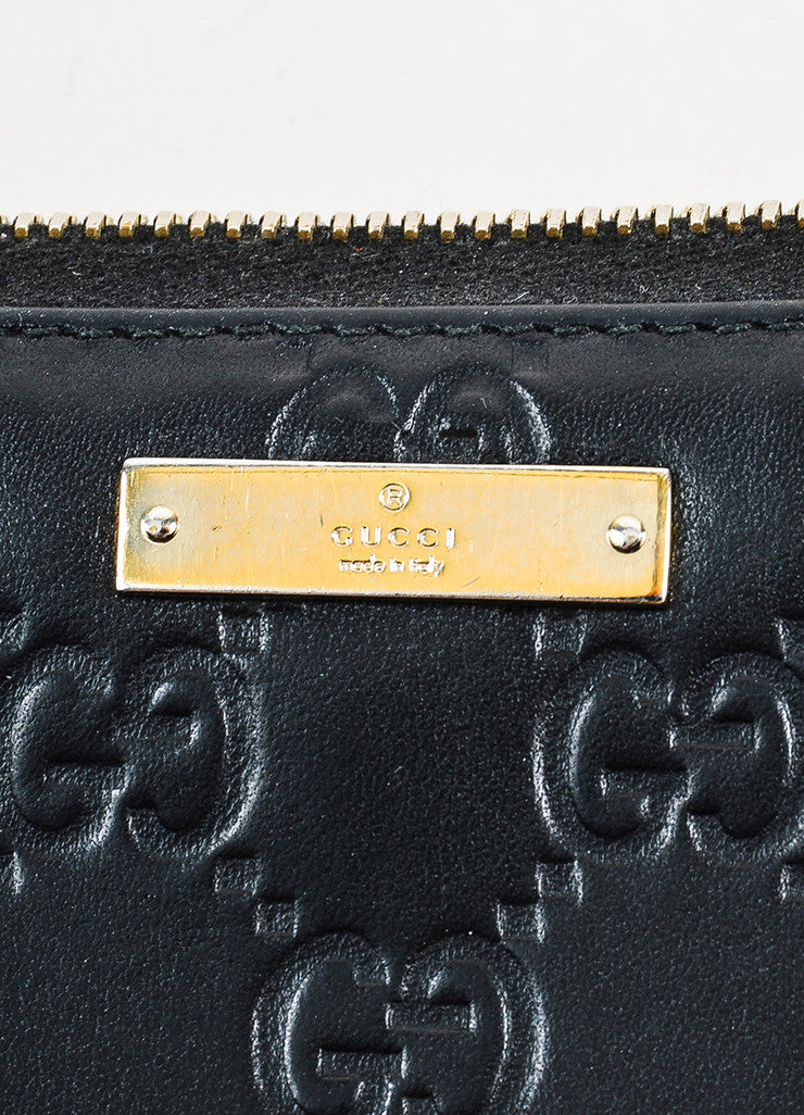 "Gucci Black Leather ""Guccissima"" Monogram ""GG"" Long Zip Wallet Brand"