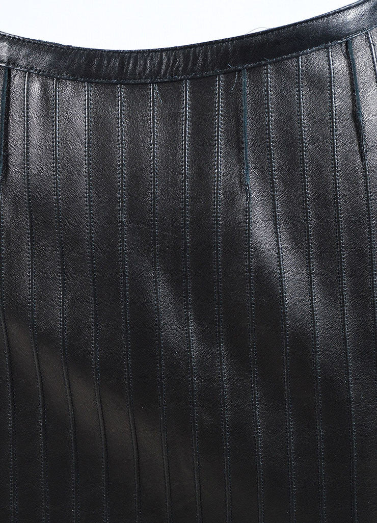 Black Gucci Leather Paneled Knee Length Pencil Skirt Detail