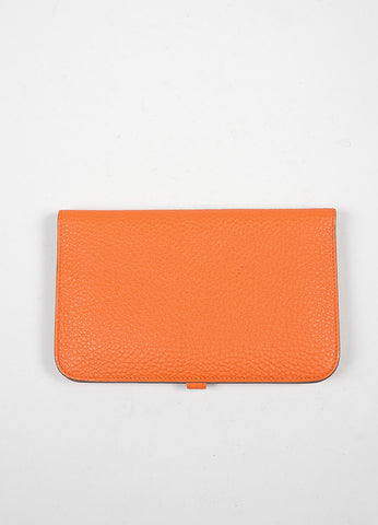 "Hermes Togo ""Capucine Orange"" Leather Dogon Combo Wallet Backview"