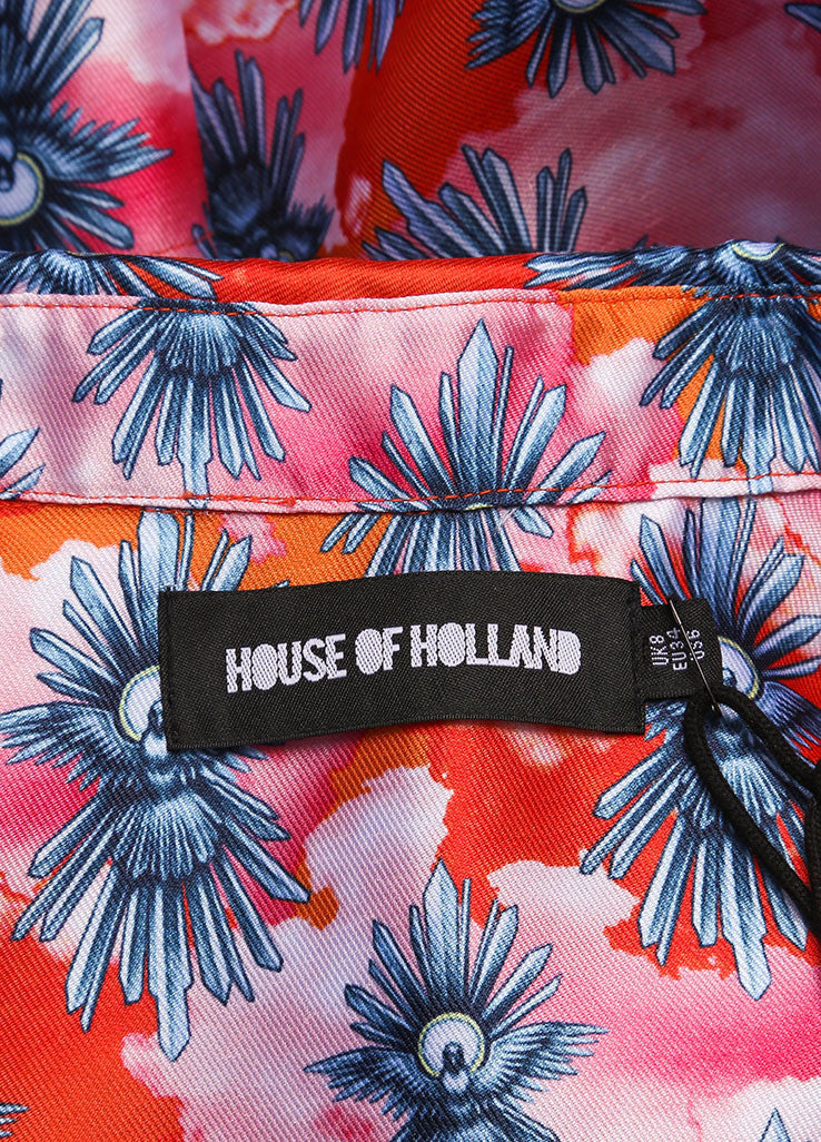 "House of Holland New With Tags Orange and Pink Satin ""Tropical Dove"" Print Short Sleeve Top Brand"