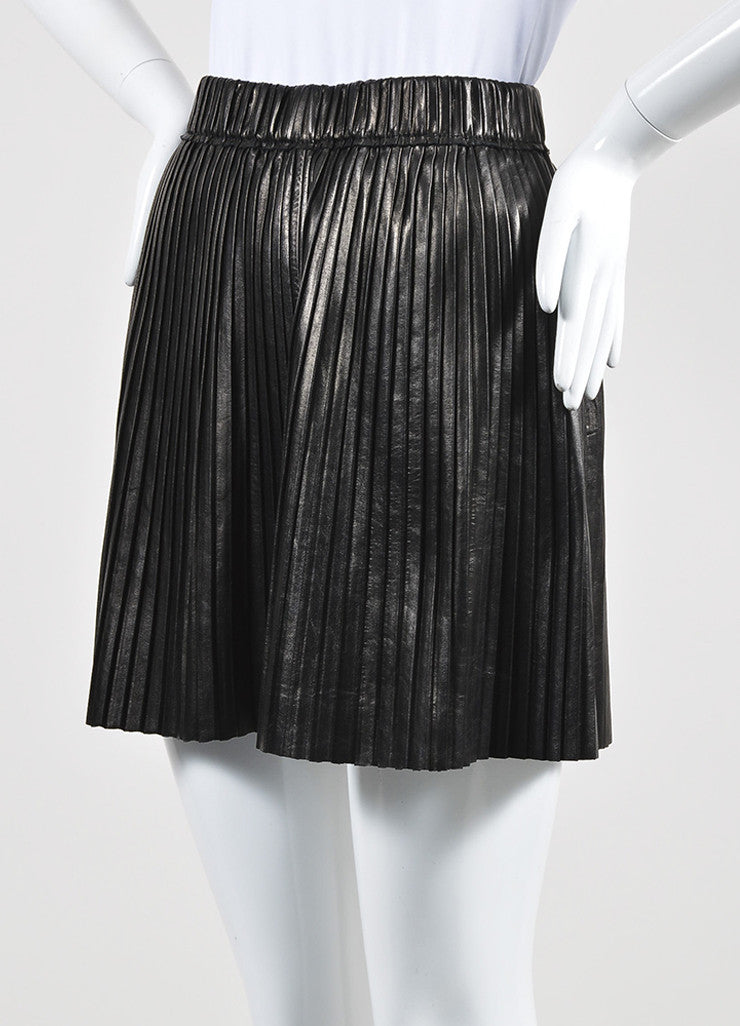 Isabel Marant Black Leather Knife Pleatet A Line Mini Skirt Front