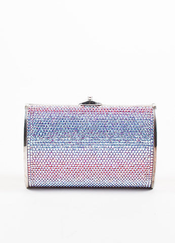 Judith Leiber Pink, Purple, and Silver Rhinestone Clutch Minaudiere Evening Bag Frontview